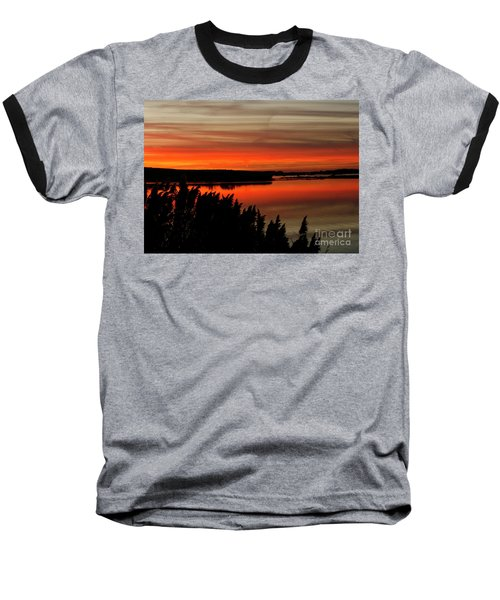 Red Sky On The Illinois River Baseball T-Shirt
