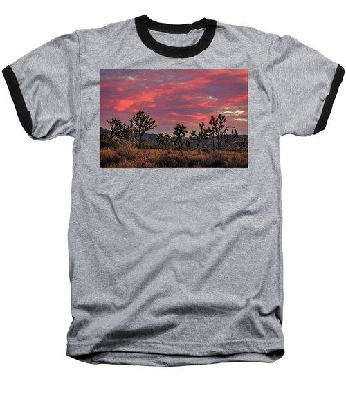 Red Sky Over Joshua Tree Baseball T-Shirt
