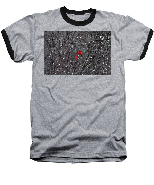 Red Snow Baseball T-Shirt by Bill Stephens