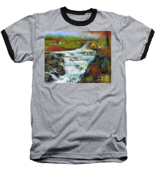 Yellow Fields With Red Sumac Baseball T-Shirt by Frances Marino