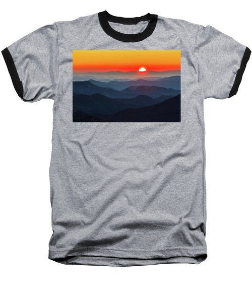 Red Sun In The End Of Mountain Range Baseball T-Shirt