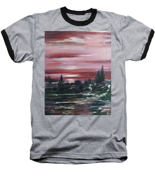 Baseball T-Shirt featuring the painting Red Sun Set  by Laila Awad Jamaleldin