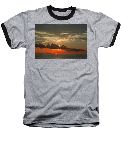 Red Sunset And Dark Clouds Above Sea Baseball T-Shirt