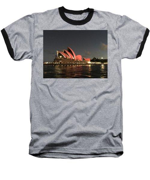 Red Sydney Opera House Baseball T-Shirt