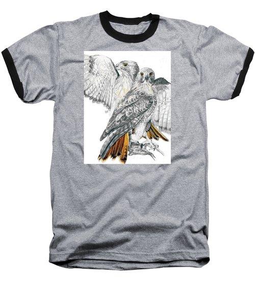 Red-tailed Hawk Baseball T-Shirt by Barbara Keith