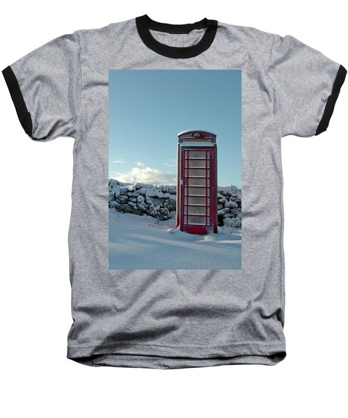 Red Telephone Box In The Snow IIi Baseball T-Shirt
