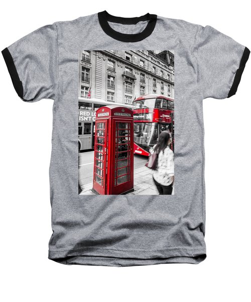 Red Telephone Box With Red Bus In London Baseball T-Shirt