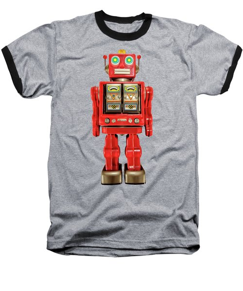 Baseball T-Shirt featuring the photograph Red Tin Toy Robot Pattern by YoPedro