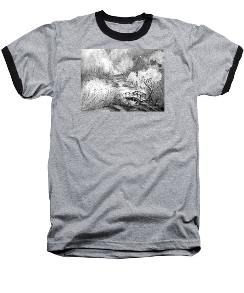 Red Top Mountain Bridge In Black And White Baseball T-Shirt by Gretchen Allen