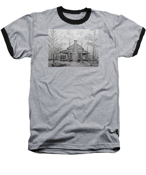 Red Top Mountain's Log Cabin Baseball T-Shirt by Gretchen Allen
