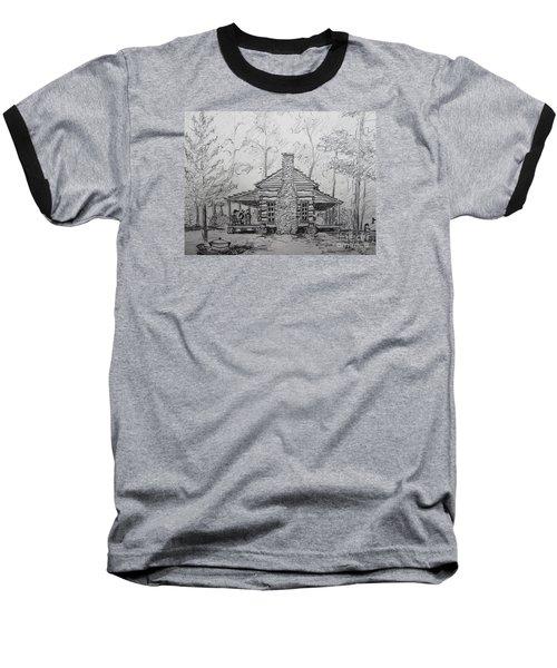 Red Top Mountain's Log Cabin Baseball T-Shirt