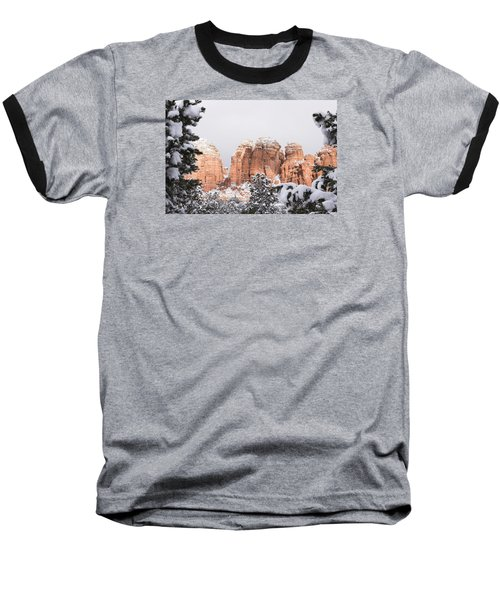 Baseball T-Shirt featuring the photograph Red Towers Under Snow by Laura Pratt