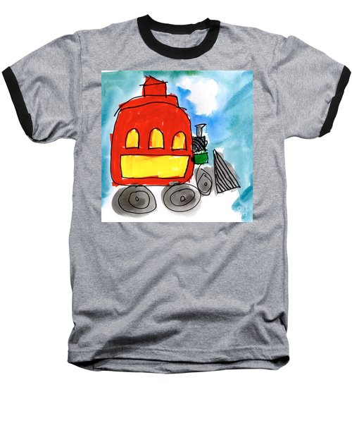 Red Train Baseball T-Shirt