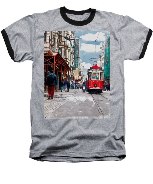 Red Tram Baseball T-Shirt by Kai Saarto