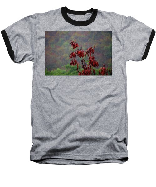 Red Tree In The Rain Baseball T-Shirt by Michael Thomas