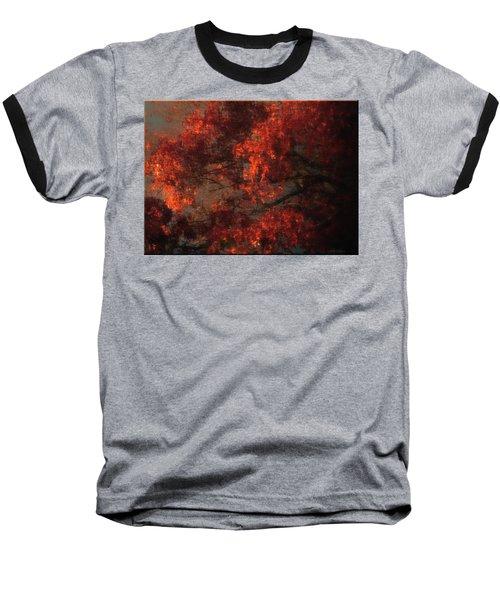 Red Tree Scene Baseball T-Shirt by Mikki Cucuzzo