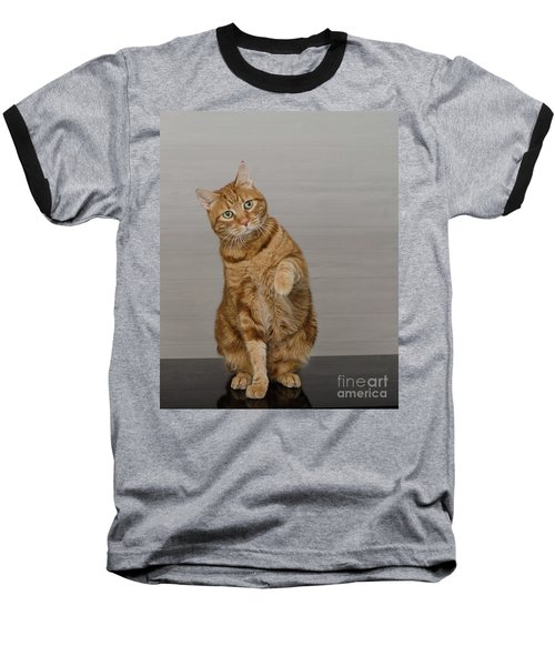 Red Tubby Cat Tabasco Waiving Baseball T-Shirt