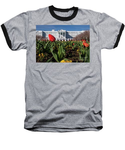 Red Tulip At The Greenbrier Baseball T-Shirt by Laurinda Bowling