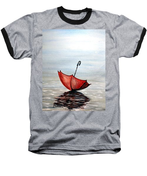 Baseball T-Shirt featuring the painting Red Umbrella by Edwin Alverio