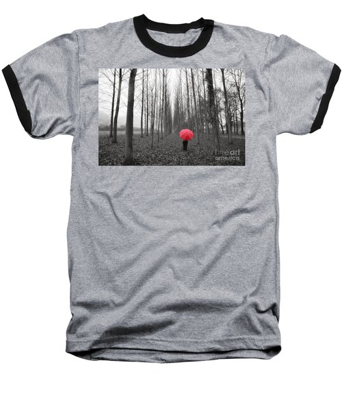 Red Umbrella In An Allee Baseball T-Shirt