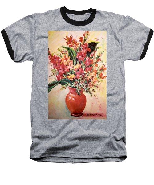 Red Vase Baseball T-Shirt by Alexandra Maria Ethlyn Cheshire