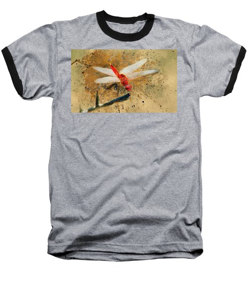 Baseball T-Shirt featuring the photograph Red Veined Darter Dragonfly by Bellesouth Studio