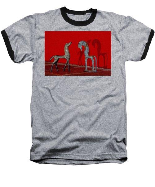 Red Wall Horse Statues Baseball T-Shirt