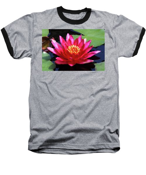 Red Water Lily - Palette Knife Baseball T-Shirt