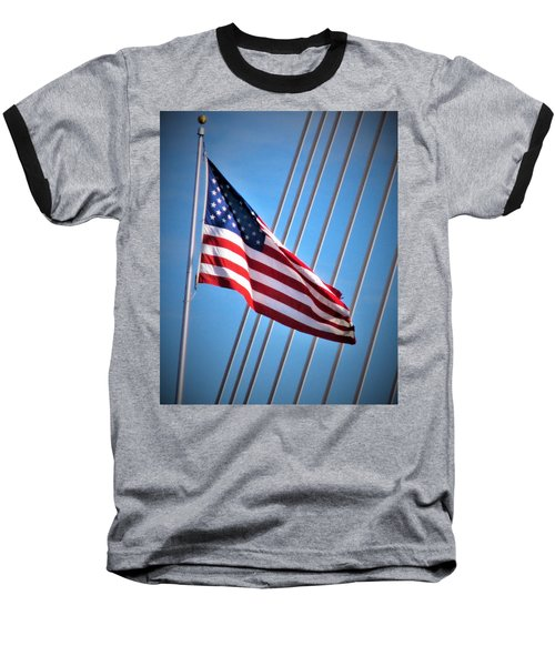 Red, White And Blue Baseball T-Shirt by Martin Cline