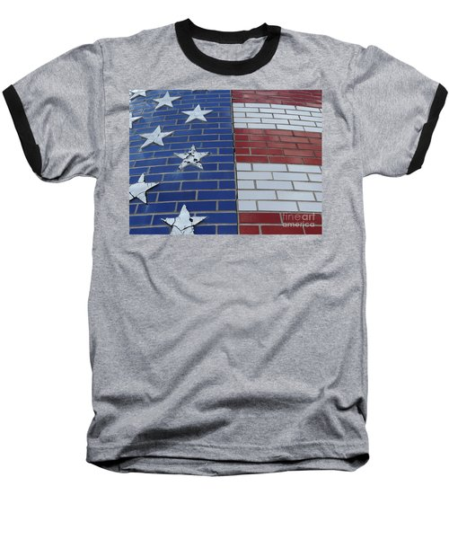 Red White And Blue On Brick Baseball T-Shirt by Erick Schmidt