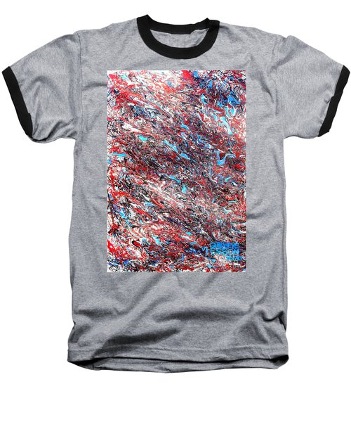 Baseball T-Shirt featuring the painting Red White Blue And Black Drip Abstract by Genevieve Esson