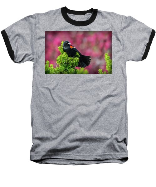 Red Winged Blackbird With Crabapple Blossoms Baseball T-Shirt