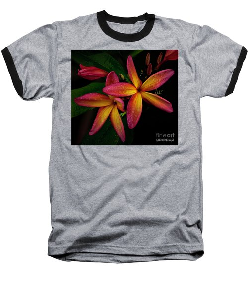 Red/yellow Plumeria In Bloom Baseball T-Shirt
