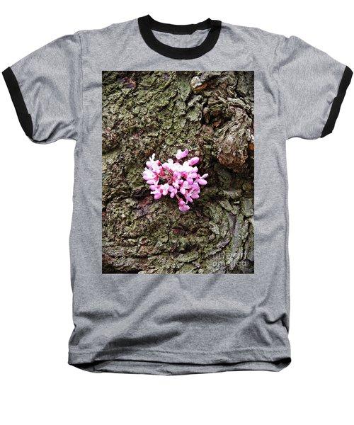 Redbud Flowers 1  Baseball T-Shirt by Sarah Loft
