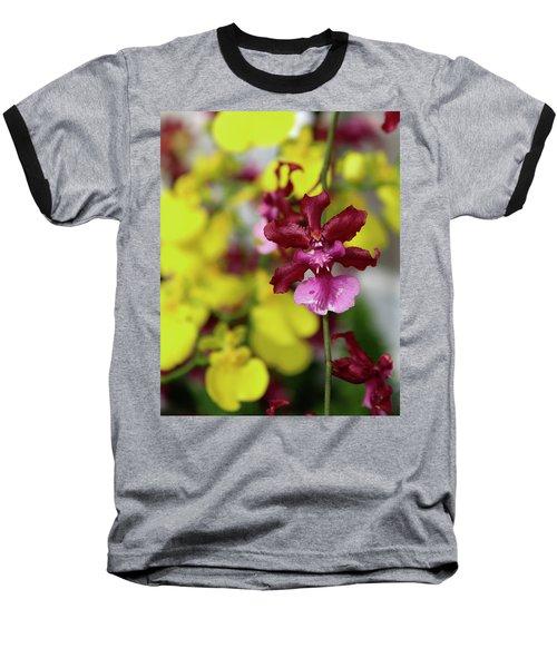 Maroon And Yellow Orchid Baseball T-Shirt