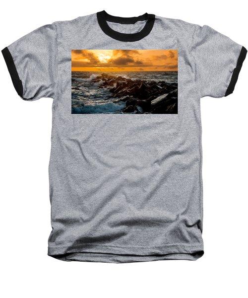 Redondo Beach Sunset Baseball T-Shirt by Ed Clark