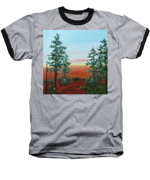 Baseball T-Shirt featuring the painting Redwood Overlook by Roseann Gilmore