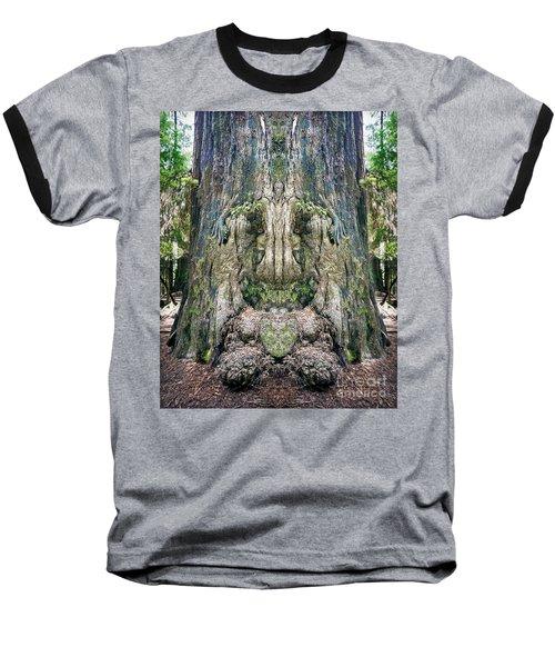 Redwood Tree Face Baseball T-Shirt by Martin Konopacki