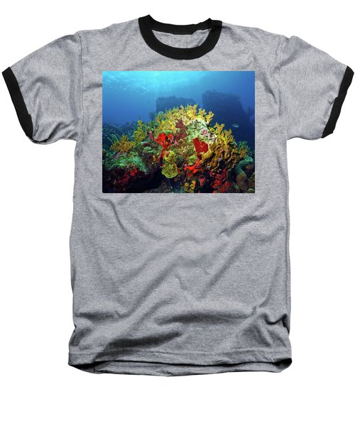 Reef Scene With Divers Bubbles Baseball T-Shirt