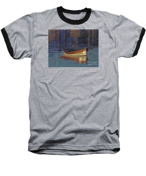 Baseball T-Shirt featuring the painting Sold Reflecting At Day's End by Nancy  Parsons