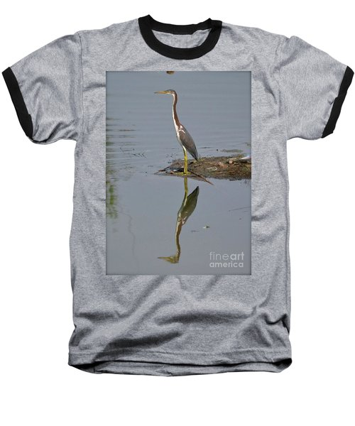 Baseball T-Shirt featuring the photograph Reflecting Heron by Carol  Bradley