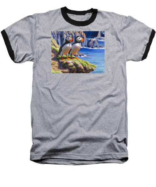 Baseball T-Shirt featuring the painting Reflecting - Horned Puffins - Coastal Alaska Landscape by Karen Whitworth