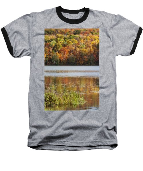 Reflection Of Autumn Colors In A Lake Baseball T-Shirt by Susan Dykstra