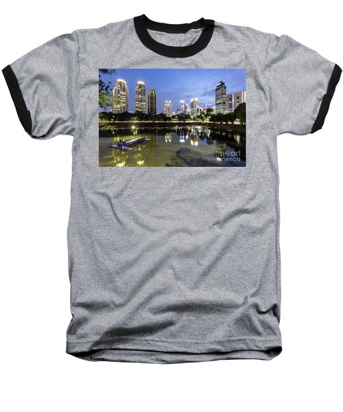 Reflection Of Jakarta Business District Skyline During Blue Hour Baseball T-Shirt
