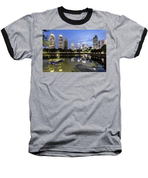 Reflection Of Jakarta Business District Skyline During Blue Hour Baseball T-Shirt