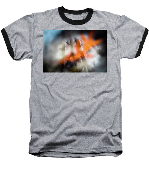 Reflection Of Trees Over An Oak Leaf Encased In Water And Ice Baseball T-Shirt