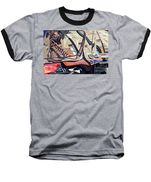 Baseball T-Shirt featuring the photograph Reflection On A Parked Car 18 by Sarah Loft