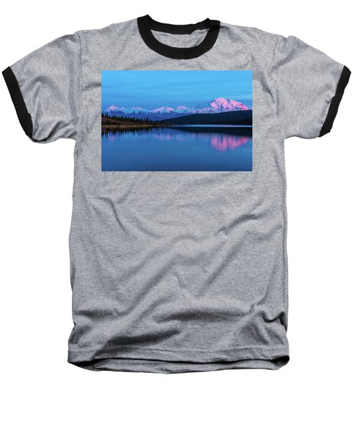 Sunset Reflections Of Denali In Wonder Lake Baseball T-Shirt
