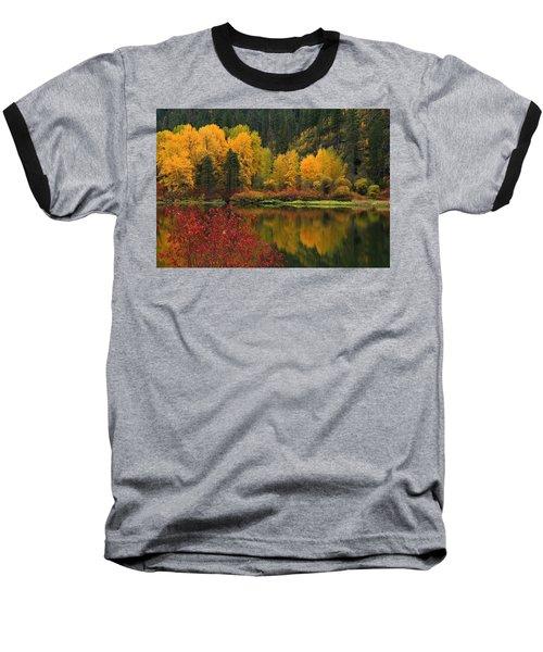 Reflections Of Fall Beauty Baseball T-Shirt by Lynn Hopwood