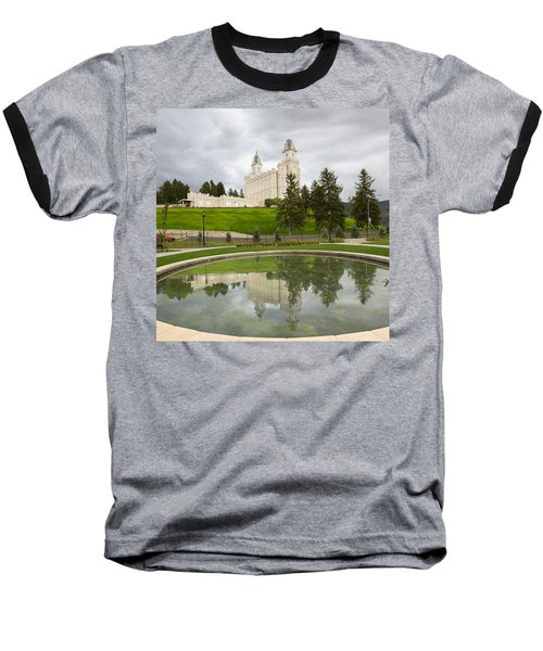 Reflections Of The Manti Temple At Pioneer Heritage Gardens Baseball T-Shirt